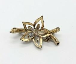 50's CROWN TRIFARI Patent Pending Clear Rhinestone Flower Gold Tone Pin ... - $74.24