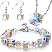 Vintage Aurora Borealis Crystal Bracelet Double Strand Rhinestone Box Clasp - $14.69