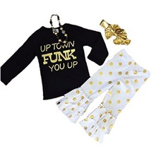 Cute Kids Clothing Toddler Girl/Girls Uptown Funk You Up Black Gold Dot ... - $24.99