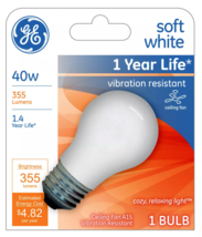 Lot of 4 GE 99461 A15 Incandescent A-Line Ceiling Fan Bulb Soft White 355 Lumens image 2