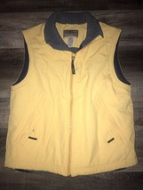 L. L. BEAN ~ Men's Yellow Fleece Lined Vest Jacket Outdoors Hiking Nylon... - $25.23