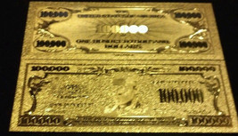 <>~4Pc.LOT~ GOLD $100,000 Banknote W/  COIN / FLAKE W/ Pouch~FREE S&H - $12.38