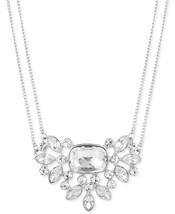 GIVENCHY Clear Crystal Pendant Silver-Tone Double Strand Necklace NWT - $35.84