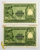 1951 Italia 2 Sequentially Numerada 50 Lira (Au ) About Uncirculated Estado - $54.58
