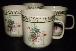 4 We Can Build A Snowman Christmas Holiday Stoneware Tea Coffee Cup Mug ... - $29.69