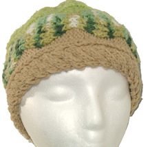 Green and Tan Hand Knit Hat - $23.00