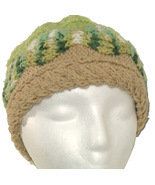 Green and Tan Hand Knit Hat - $25.50
