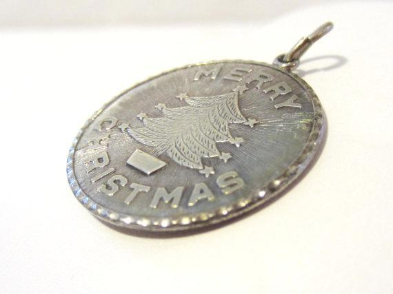 Vintage sterling silver 925 Merry Christmas pendant