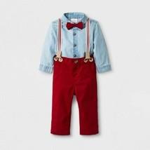 Cat & Jack Baby Boys' 3pc Long Sleeve Chambray Bodysuit Twill Pants Bow ... - $13.99
