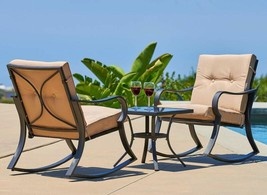 Set of 3 Pcs Outdoor Rocking Chairs Bistro Garden Patio Furniture Modern... - $317.77