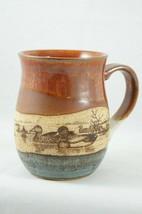 Otagiri Stoneware Coffee Mug Ducks on Pond Red White Blue - $9.28