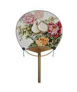 Kylin Express Japanese Style Bamboo Handle Round Hand Fan Handheld Fan, A - $19.64