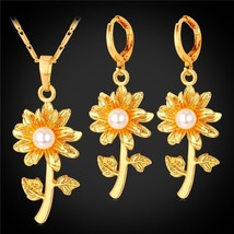Blossom Daisy Flower Dangle Earrings And Pendant Necklace Set Gold/Silver Color  - $16.06