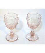 2x Vintage Style Easter Pink Blush Hobnail Drinking Cocktail Stem Glass ... - $31.03