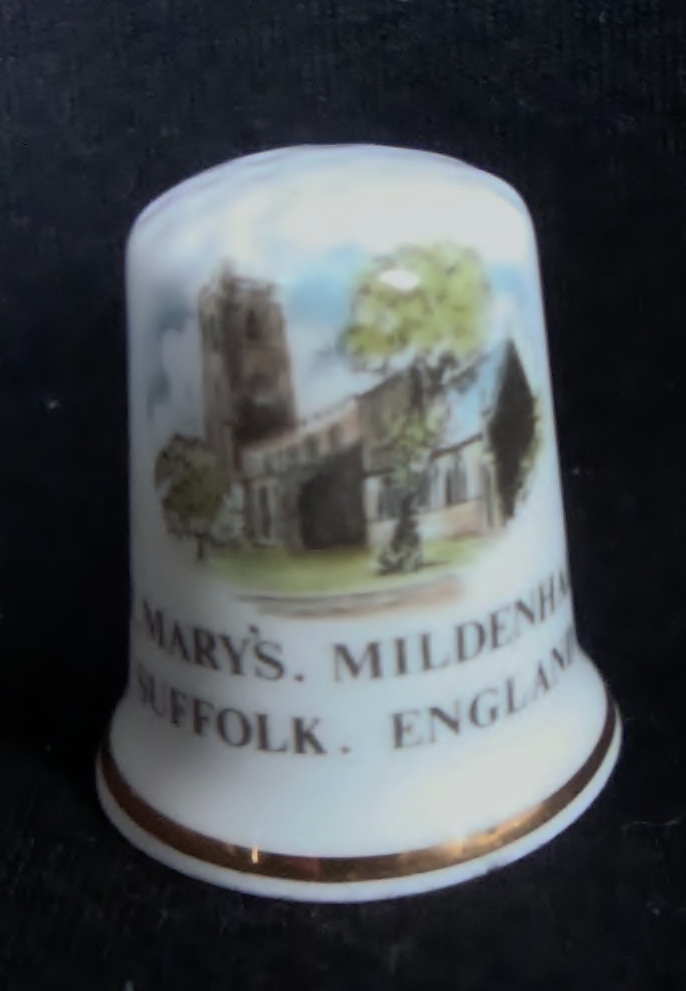 Bone China Thimble - St. Mary's Mildenhall - Suffolk, England