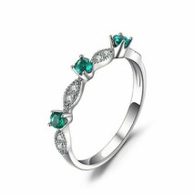 14k White Gold Finish 0.5 Ct Round Cut Green Emerald Band Engagement Ring - $83.85