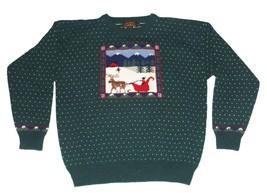 VTG Woolrich Iconic Dark Green Holiday Trees Sleigh Reindeer Sweater Mns... - $752,82 MXN