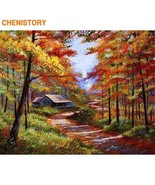 Autumn Forest Landscape DIY Painting By Number Acrylic Canvas Painting H... - $16.82