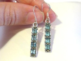Beautiful sterling silver Blue Rhinestones Dangle earrings - $15.00