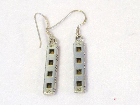 Beautiful sterling silver Blue Rhinestones Dangle earrings