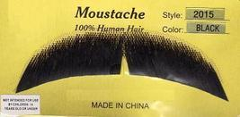 SLIGHT DOWNTURN HUMAN HAIR BLACK MUSTACHE - $8.50