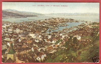 Primary image for Bergen Norway Town view 1911 Postcard BJs