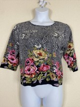 Take Two Womens Size XL Floral Pattern Knit Blouse 3/4 Sleeve Sequin Emb... - $19.80