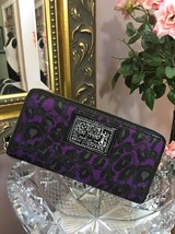 Coach Poppy Wallet Purple Ocelot Black Sparkling Daisy 48108 Zip Around W17 - $98.95