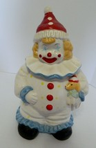 Smiling Clown Ceramic Cookie Jar Holding Puppy Red Hat with Collar Thailand - $21.66