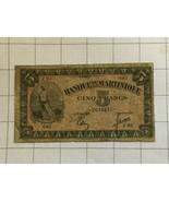 Bank De La Martinique 5 Cino Francs Note - $90.00