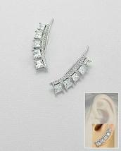 Pave Bar & Princess 5A CZ Ear Pin Climber Sterling Silver Earrings-Vermeil - $59.39