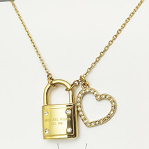 Michael Kors Women's Padlock Heart Charm Gold Tone Necklace Crystals MKJ... - $69.99