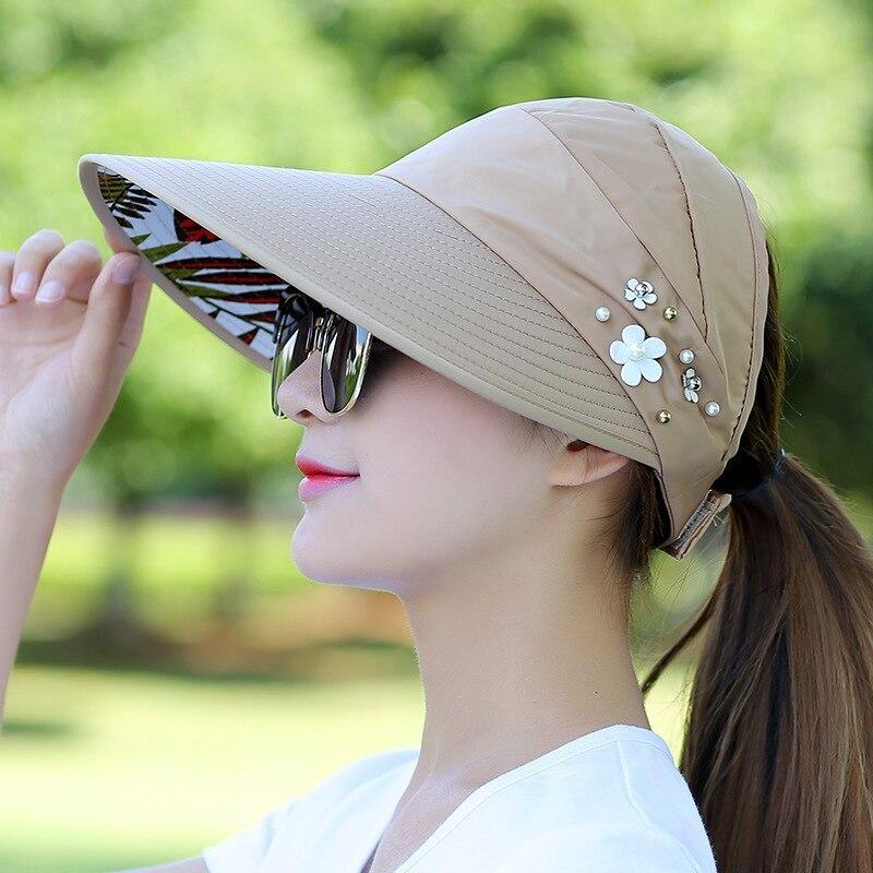 Floral Sun Hats for Women Summer Wide Large Brim Floppy Beach Folding Sun Protec image 5