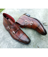 Handmade Brown Color Double Monk Strap Ankle High Leather Cap Toe Boots ... - $159.97+