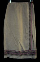 ANN TAYLOR PETITES 100% Linen Embroidered Front Wrap Skirt  Wheat Sz 8P - $19.59
