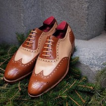 Handmade Brown & Beige Leather Wing Tip Heart Medallion Lace Up Oxford Shoes image 1