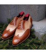 Handmade Brown & Beige Leather Wing Tip Heart Medallion Lace Up Oxford S... - $134.99+