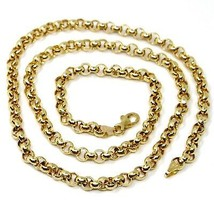 """18K YELLOW GOLD CHAIN 19.70"""" INCHES 50cm, BIG ROUND CIRCLE ROLO THICK 4 MM LINK image 1"""