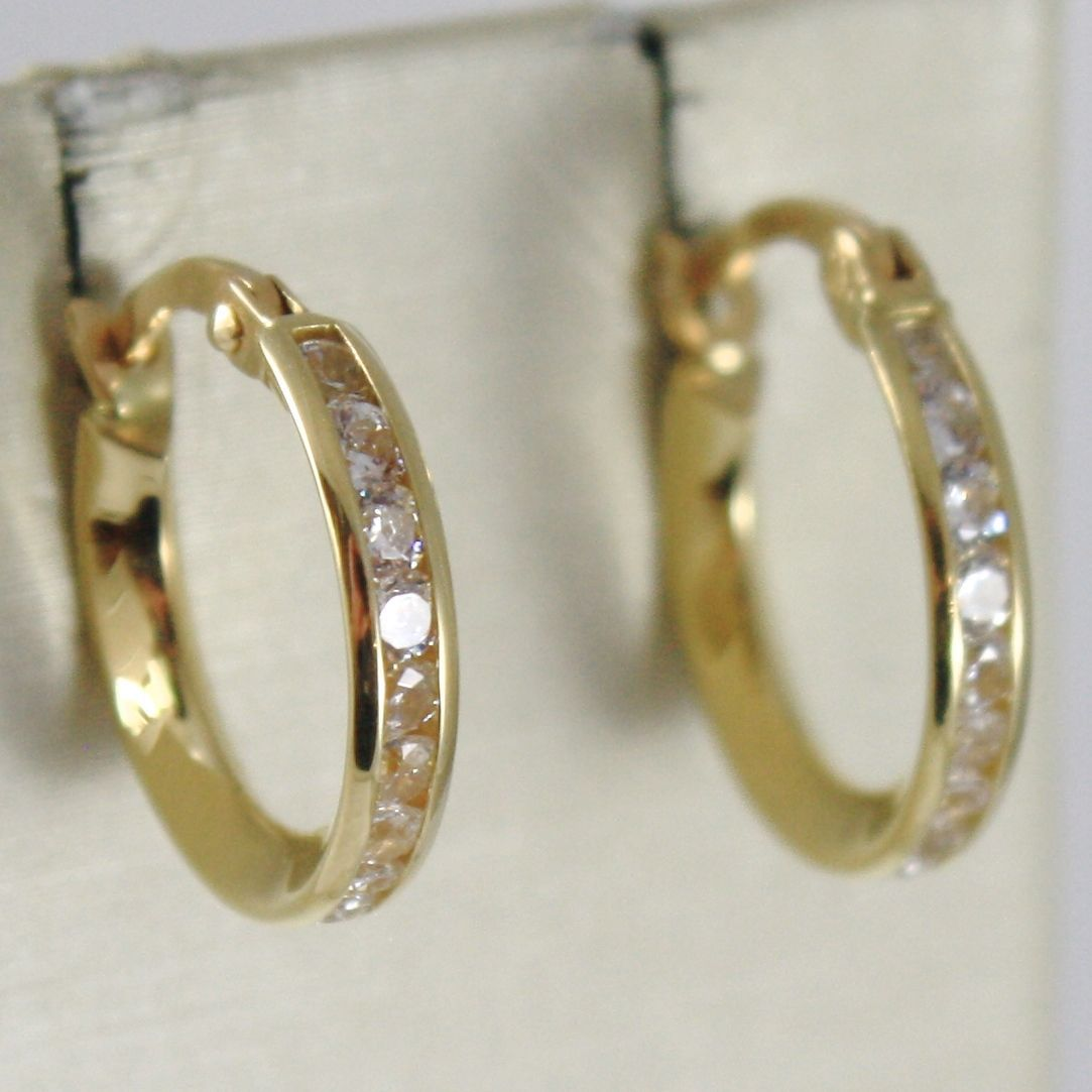 YELLOW GOLD EARRINGS 0,5 WHITE 750 18K CIRCLE, 1.4 CM WITH CUBIC ZIRCON