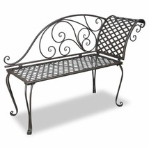 vidaXL Garden Chaise Lounge Brown Metal Antique Scroll-patterned Patio O... - $121.99