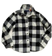 Childrens Place Boys Buffalo Plaid Long Sleeve Button Up Fleece Shirt 5 6 - $7.91