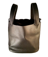 St. Germain Luxury Bucket Bag 18cm Genuine Leather Black Silver Lock Pic... - $177.00