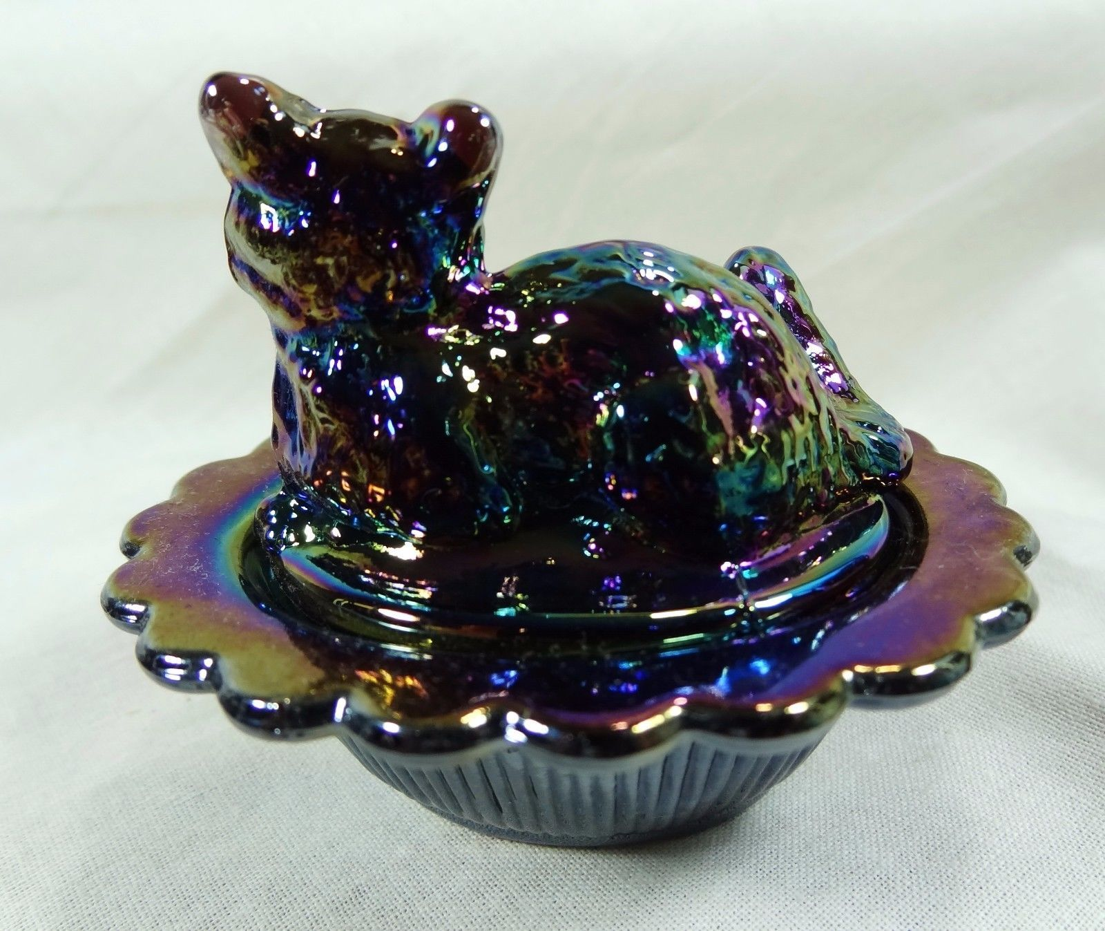 Cat on Nest Salt Dip Purple Carnival Glass Kitty Kitten Amethyst Carnival