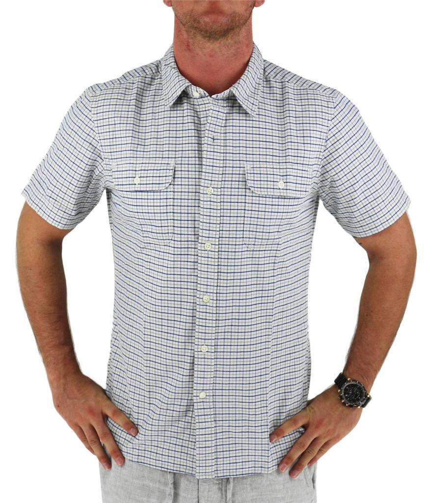 NEW NWT LEVI'S MEN'S COTTON SHORT SLEEVE PLAID BUTTON UP SHIRT WHITE 651840001