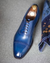 Mens Real Leather Casual Dress Royal Blue Tone Cap Toe Lace Up Vintage Shoes - $139.99+