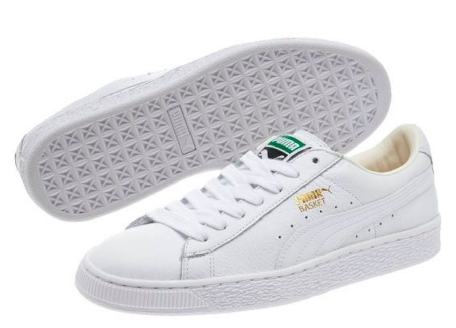 Primary image for PUMA Womens 9.5 Basket Classic LifeStyle Wns Fashion Sneaker- White Gold