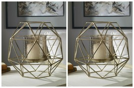 "Two Myah Xxl 15"" Urban Modern Geometric Metal Cage Candelabra Candle Holder - $294.80"