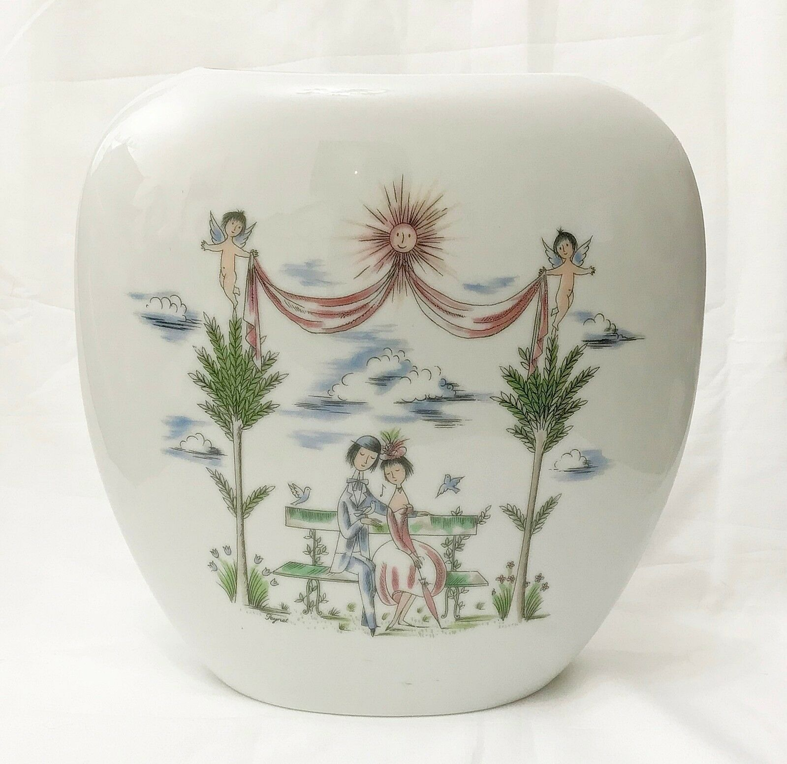 Primary image for Rosenthal Porcelain Vase Vintage Raymond Peynet The Lovers Hand Painted MCM
