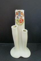 Antique Crested Ware Miniature Heraldic TULIP Triple Bud VASE Douglas Is... - $14.80