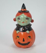 Peek a Boo Witch Pumpkin Shelf Sitter Halloween Tabletop Decor 6''Tall - $15.79